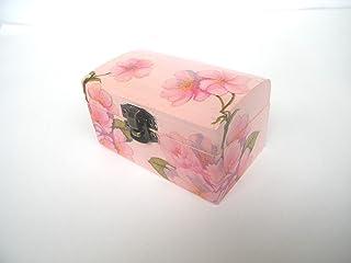 Cajita de madera Joyero Flor de Cereza, Elegante Caja de Almacenamiento para Mujer, anillos compromiso, 9 x 5,5 x 5cm