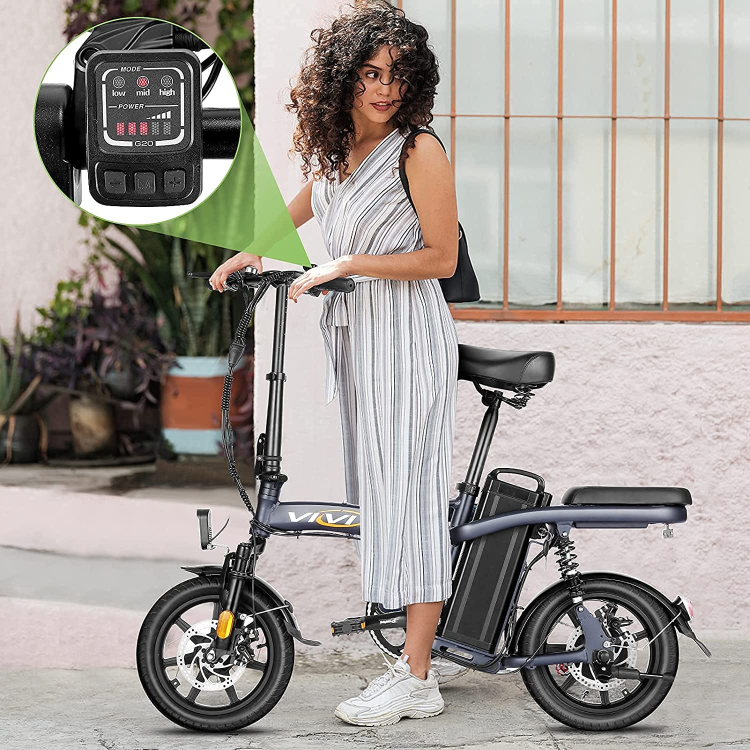 Vivi Z8 Folding Electric Bicycle Ebike, 14 inch Small Electric Bike for Adults, 350W Motor with 48V 20Ah Removable Lithium-Ion Battery Electric Commuter e Bikes, 20Mph and UP to 60 Miles