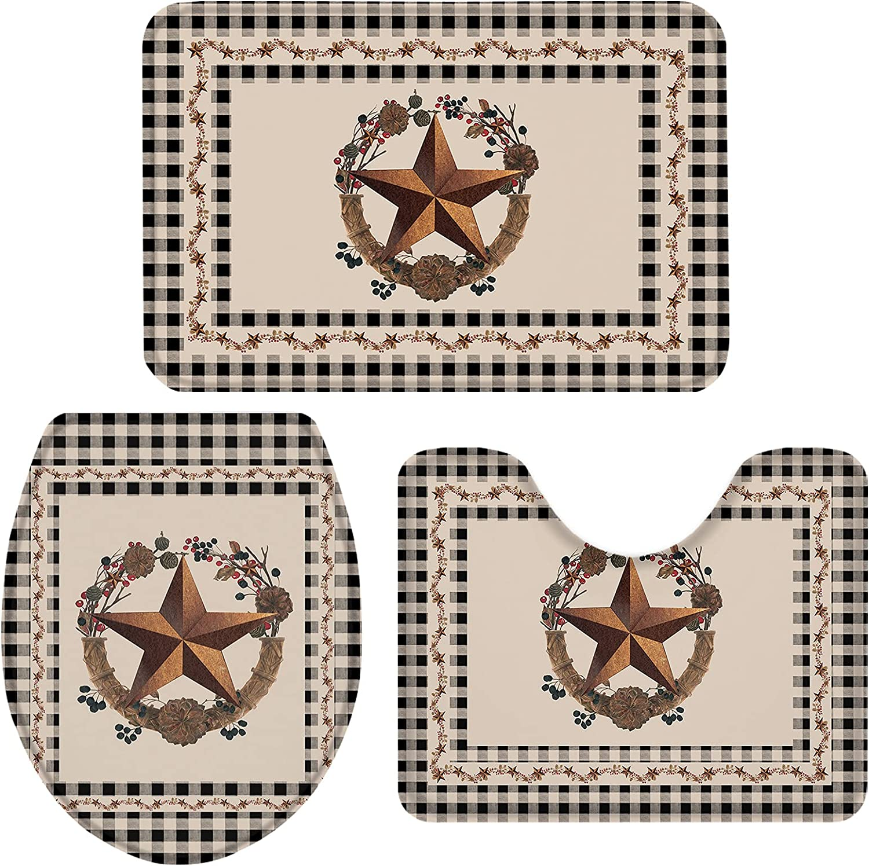Bath Limited price Year-end gift sale Rug 3 Piece Bathroom Rugs Toilet Doo 1 Set U-Shape Mat