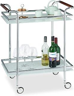 Relaxdays, argent Desserte de Cuisine verre opale, 2 étages, Table Roulante, Chariot de Service, roulettes, 85x66x43 cm, a...