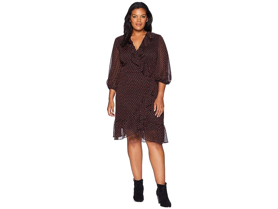 Adrianna Papell Plus Size Diamond Foulard Wrap Dress (Black Multi) Women