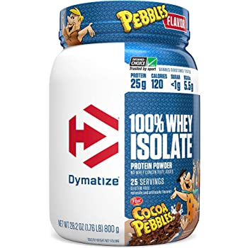 Dymatize 100% Whey Isolate Protein Powde, Cocoa Pebbles (Pack of 1) 25 Count