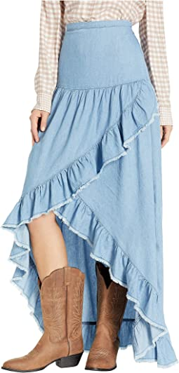 Tamia Ruffle Lightweight Denim Skirt