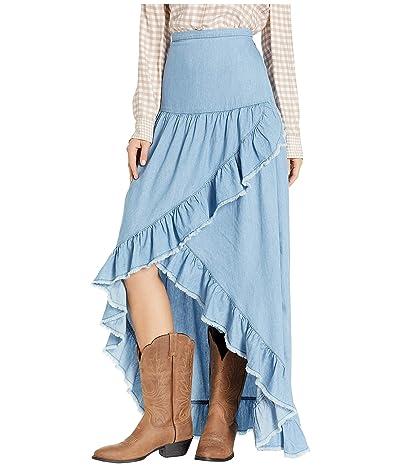 Scully Tamia Ruffle Lightweight Denim Skirt (Light Blue) Women