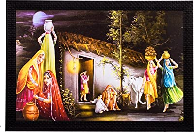 eCraftIndia 'Village View' UV Art Painting (Synthetic Wood, 36 cm x 28 cm, Satin Matt Texture)