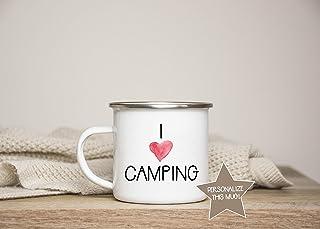 DKISEE I Love Camping Camping Mug Camping Gift Motorhome Gifts RV Gifts Camper Mug Campervan Enamel Camping Mug 10oz