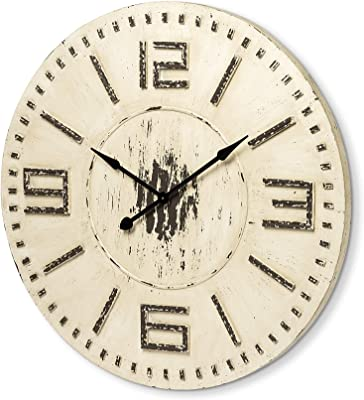 "Mercana Rustic Over-Sized Wall 63034"" Devonshire Decorative Clock, 42"" x 42"" x 2"", Whitewashed"