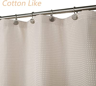 Waffle Weave Shower Curtain Hotel Luxury Spa 230 Gsm Heavy Duty Fabric Water Repellent Black 71x72 Inch Home Kitchen