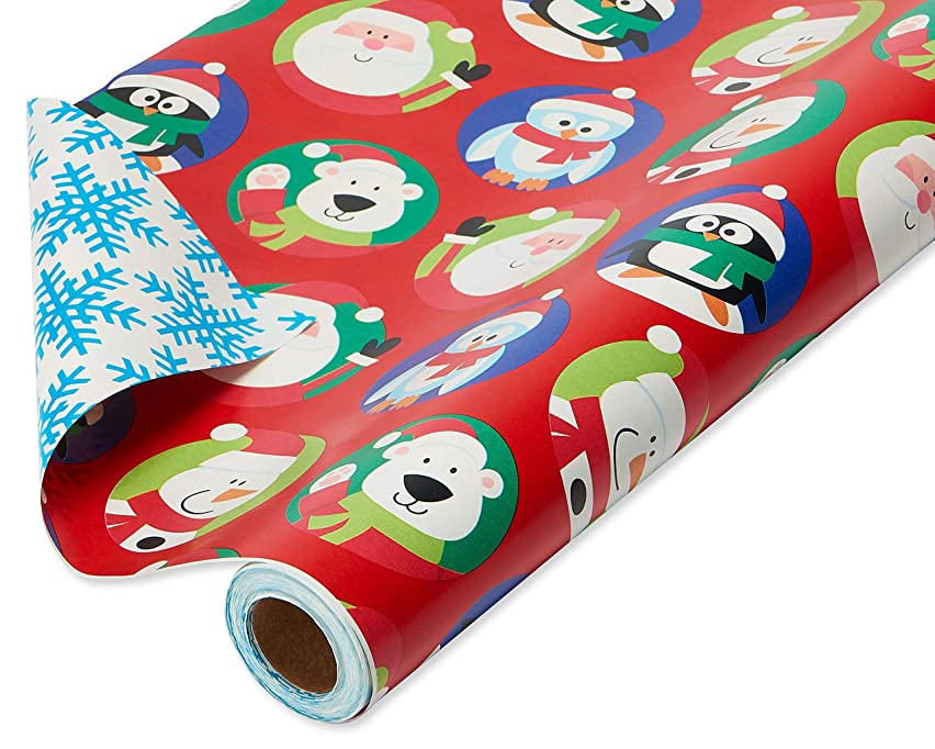 American Greetings Kids Christmas Gift Wrapping Paper Reversible Jumbo Roll, Santa with Characters and Snowflakes, 175 Total sq. ft..