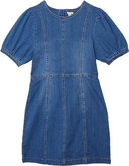 Puff Sleeve A-Line Dress (Big Kids)