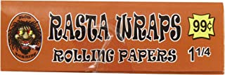 Jar of 1 1/4 Rasta Wraps Slow Burning Tobacco Rolling Papers (Quantity of 50)