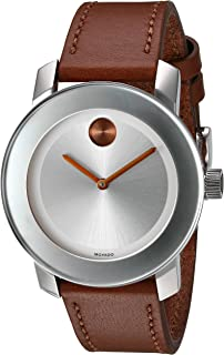 Women's Swiss Quartz Stainless Steel and Leather Watch, Color: Brown (Model: 3600379)
