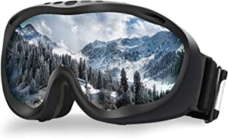 AKASO Ski Goggles, Snowboard Goggles, Anti-Fog 100% UV Protection, Double-Layer Spherical Lenses, Helmet Compatible Medium Fit Snow Goggles for Men & Women