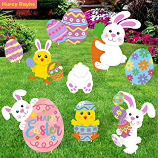 Huray Rayho Easter Street Yard Sign Cutouts with Stakes Bunny Eggs Yard Signs Decorations for Easter Spring Holiday Lawn O...