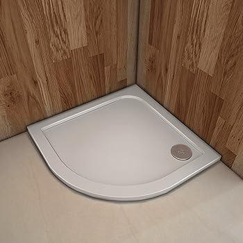 Plato de Ducha Semicircular Antideslizante Gelcoat Blanco Extraplano AICA 90x90 CM: Amazon.es: Bricolaje y herramientas