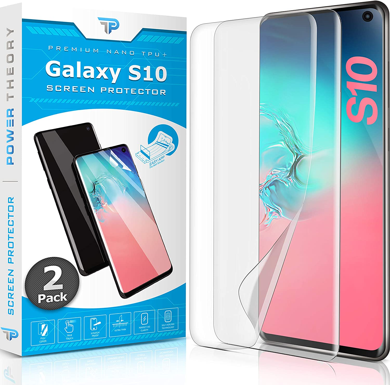 Power Theory Screen Protector Film for Samsung Galaxy S10 [2-pack] - [Not Glass] Full Cover, Case Friendly, Flexible Anti-Scratch Film