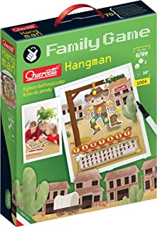 Quercetti Hangman Word Game - Classic 2-Player Family Board Game of Deduction and Strategy, for All Ages 6 Years and Up