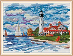 DIY Cross-Stitching with Pre-Printed Patterns for Beginner Kids Adults Cross Stitch Stamped Kits, Embroidery Crafts Needlepoint Starter Kits, The Seaside Lighthouse