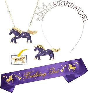 Unicorn Birthday Girl Sash and Crown/Tiara | Unicorn Birthday Party Supplies | Unicorn Happy Birthday Girl Party Supplies| Glitter Unicorn Birthday Necklace and Brooch