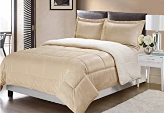Swift Home Collection Ultra-Plush Reversible Micromink and Sherpa 3-Piece Down Alternative Comforter with Pillow Shams, Luxury Bedding Set, Hypoallergenic, Camel, King