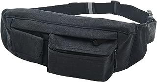 SoJourner 2-Pocket Black Fanny Pack Hip Bag - fits men, women, kids, small, medium and large