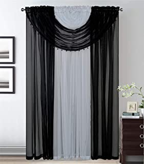 Better Home Style Complete Window Sheer Curtain All-in-One Set with 4 Attached Panels and 2 Attached Valances with Beads f...