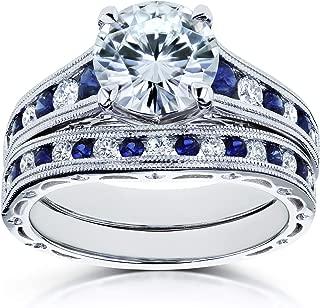 Kobelli Forever One (D-F) Moissanite Bridal Set and Sapphire 2 7/8 Carat in 14k White Gold