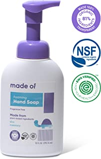 Organic Hand Soap by MADE OF - Dermatologist and Pediatrician Tested - NSF Organic and EWG Verified - for Sensitive Skin and Eczema - Made in USA - 10oz (Fragrance Free, 1-Pack)