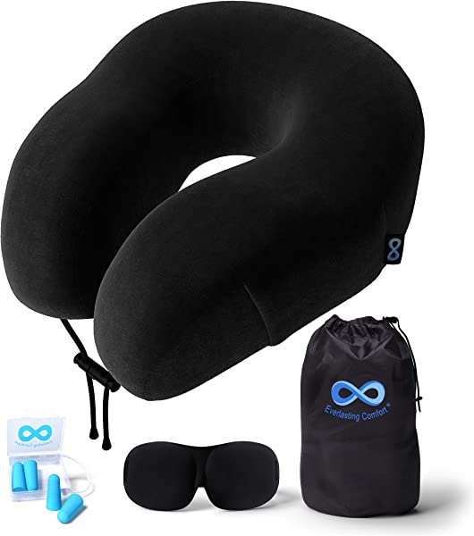 Everlasting Comfort Travel Pillow 100 Pure Memory Foam Neck Pillow With Machine Washable Velour Cover Airplane Travel Kit Includes Eye Masks Earplugs And Bag Standard Black