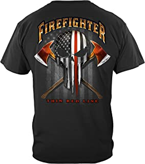 Firefighter T-Shirt American Pride Firefighter Skull of Freedom T-Shirt FF2396