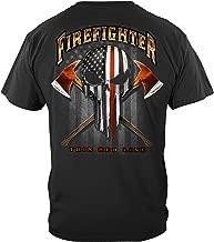 Erazor Bits Firefighter T-Shirt American Pride Firefighter Skull of Freedom T-Shirt FF2396