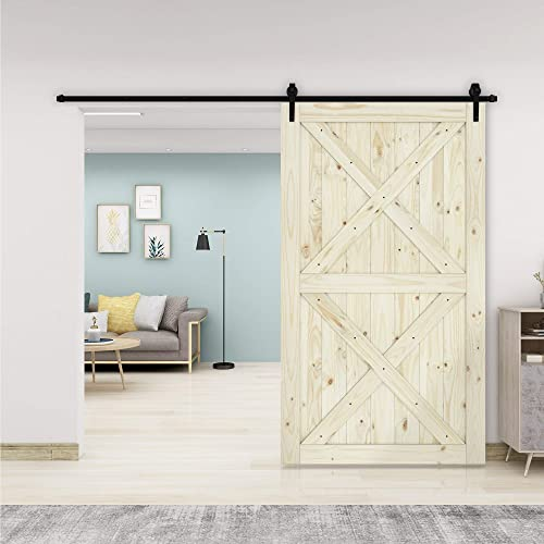 """discount BELLEZE new arrival 48"""" x 84"""" Unfinished Heavy Duty Sliding Barn Door Sturdy Solid Knotty Pine Wood Double wholesale X DIY Easy Assemble, Nature sale"""