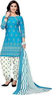 TreegoArt Fashion Women's Beautiful Printed Crepe Dress Material Unstitched Suit With Dupatta For Women -(Free Size) Blue