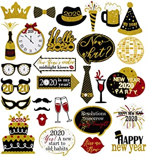 Amosfun New Years Photo Booth Props 2020 New Year Eve Photo Props Creative Selfie Props Celebration Party Favor for New Year Eve Party Decoration Supplies 29PCS