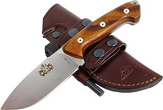 Bushcraft Survival Hunting Knife, Stainless Steel MOVA-58, Genuine Leather Horizontal-Vertical Belt Sheath + Firesteel, Handmade
