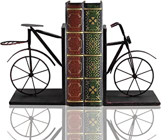Bicycle Bookend Pair, Front and Back, Iron 8 Inches Tall, Heavy Duty Skid Free. By Mega Stationers
