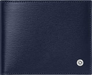 Montblanc 118654 4810 Westside Small Wallet 6 cc Cowhide Leather 11 x 9 cm with Money Clip Blue