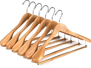 6 Quality Luxury Wooden Suit Hangers Wide Wood Hanger for Coats and Pants with Locking Bar (6, Natural Finish)
