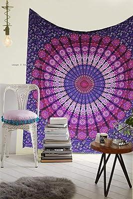 Raajsee - Tapiz de algodón indio, diseño de mandala, color morado ...