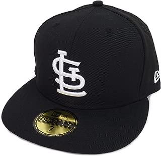 New Era ニューエラ MLB St. Louis Cardinals セントルイス カージナルス ブラックバイザー ベースボールキャップ(ブラック/ホワイト) [並行輸入品]