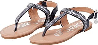 bebe Girls' Sandals - Rhinestone Studded Leatherette Thong Sandals with Charm and Buckle Straps (Little Kid/Big Kid)