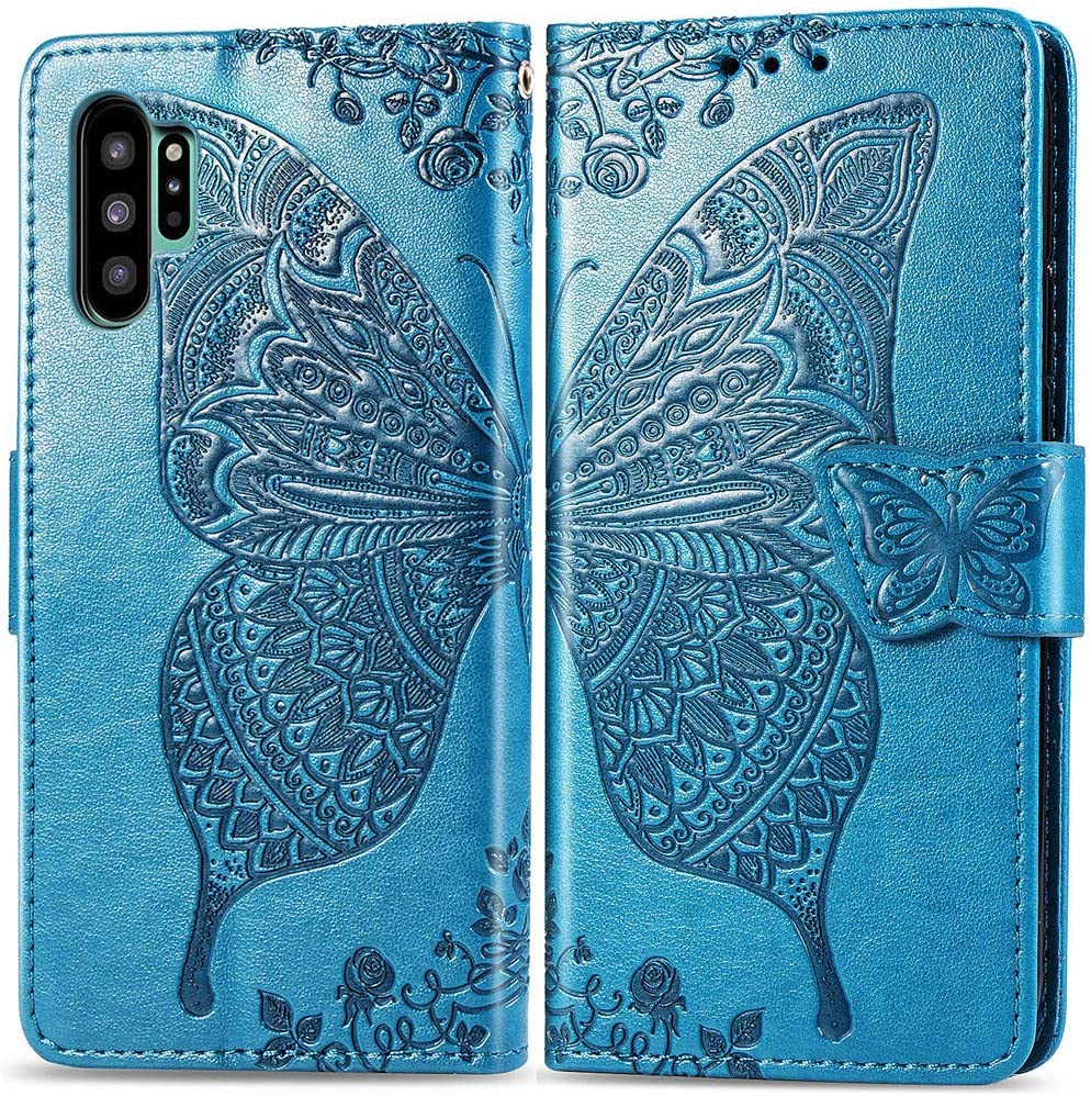 MEUPZZK Samsung Galaxy Note 10 Plus Wallet Case, Embossed Butterfly Flower Premium PU Leather [Folio Flip] [Kickstand] [Card Slots] [Wrist Strap] [6.8 inch] Cover for Samsung Note 10 Plus (A-Blue)