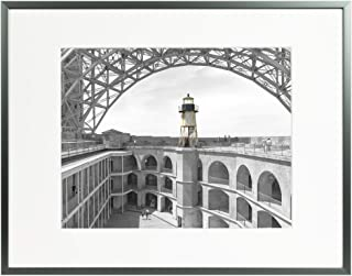 Frametory, 11x14 Modern Metallic Picture Frame Aluminum Photo Frame with Ivory Color Mat for 8x10 Picture & Real Glass (Dark Grey)