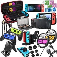 ECHTPower 20 en 1 Kits Accessoires pour Nintendo Switch- Housse, Protection Écran, Volants, Grips Joy-Con, Coque, Thumb Gr...