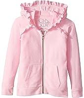 Chaser Kids - Long Sleeve Cozy Zip Raglan Hoodie with Ruffle Detail (Toddler/Little Kids)