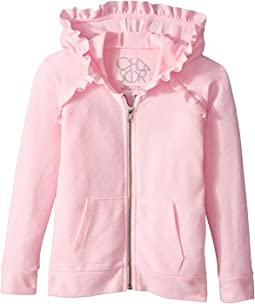 Chaser Kids - Long Sleeve Cozy Zip Raglan Hoodie with Ruffle Detail (Toddler/Little Kids)