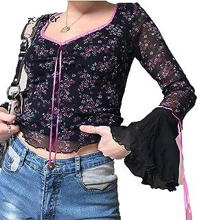 Floral Tops Mesh Women T Shirt Lace Up Y2K Top Ruffles Long Sleeve Crop Top Slim