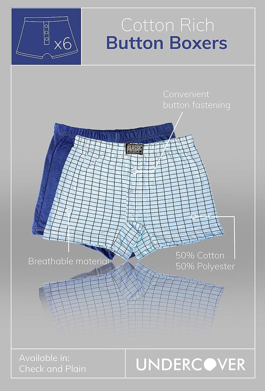 6XL New 12 Pairs Men/'s Cotton Rich Button Boxer Shorts Check Boxer Short Small