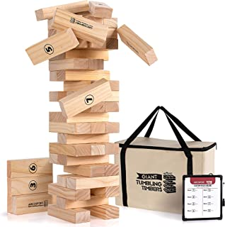 Giant Tumbling Timbers Tower Game - 56 Pieces Jumbo Wooden Blocks - Floor, Outdoor, Backyard and Lawn Games for Kids and Adults - Quality Pine Wood - Rounded Edge Blocks - Includes Carry Bag and Score