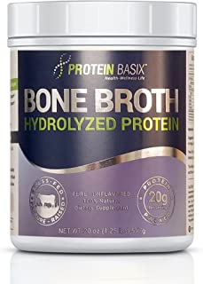 Bone Broth Protein Powder, Packed with 22.25g of Pure Premium Collagen Peptides Per Serving, 20oz. Grass Fed, Pasture Raised, Paleo & Keto Friendly- No additives or Flavorings, 20oz.